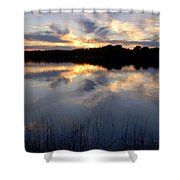 Little Silver Lake Sunset Shower Curtain