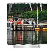Little Sister Dock Reflection Shower Curtain