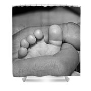 Tiny Infant Toes In Father's Big Hand Shower Curtain