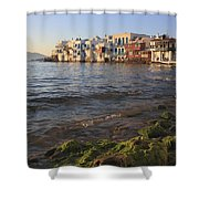 Little Venice At Sunset Mykonos Town Cyclades Greece  Shower Curtain