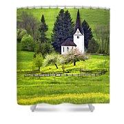 Little White German Church Shower Curtain
