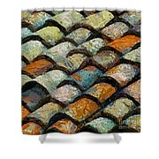 Littoral Roof Tiles Shower Curtain