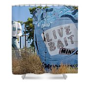 Live Bait Sign And Muffler Man Statue Shower Curtain
