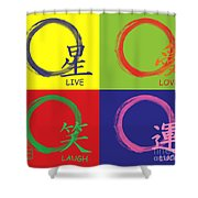 Live Laugh Love Luck Shower Curtain