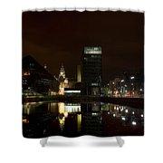 Liverpool Docks At Night Shower Curtain