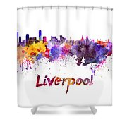 Liverpool Skyline In Watercolor Shower Curtain