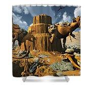 Living Fossils In A Desert Landscape Shower Curtain