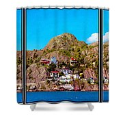 Living On The Edge Of The Battery Painterly Triptych Shower Curtain
