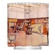 Living Room, 1905 Shower Curtain by Alfred Grenander