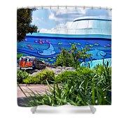 Living Seas Signage Walt Disney World Shower Curtain