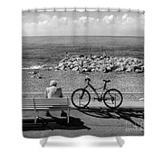 Living The Dream.nice.france.bw Shower Curtain