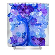 Liz Dixon's Tree Blue Shower Curtain