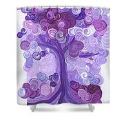 Liz Dixon's Tree Purple Shower Curtain