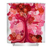 Liz Dixon's Tree Red Shower Curtain