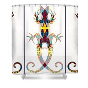 Lizard Love An Abstract Reptilian Adventure Shower Curtain