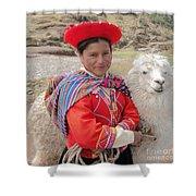 Llama Lady Shower Curtain