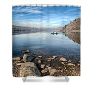 Llanberis Lake Shower Curtain by Adrian Evans
