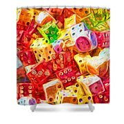 Loaded Dice Shower Curtain