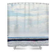 Loaded Oil Tanker On Ocean Under Stormy Sky Clouds Shower Curtain