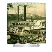 Loading Cotton On The Mississippi, 1870 Colour Litho Shower Curtain