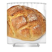 Loaf Of Bread On White Shower Curtain