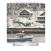 Lobster Boat After Snowstorm In Tenants Harbor Maine Shower Curtain by Keith Webber Jr
