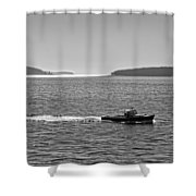 Lobster Boat And Islands Off Acadia National Park In Maine Shower Curtain