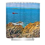 Lobster Boat Checking Traps In Louisbourg Bay-ns Shower Curtain