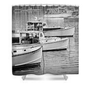 Lobster Boats In Bass Harbor And Bernard Maine  Shower Curtain