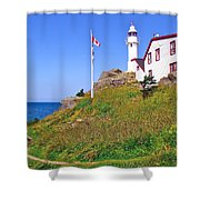 Lobster Cove Lighthouse With Blue Sky In Gros Morne Np-nl Shower Curtain