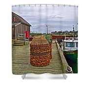 Lobster Fishing Baskets And Boats By A Dock In Forillon Np-qc Shower Curtain