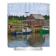 Lobster Fishing Baskets And Boats In Forillon Np-qc Shower Curtain