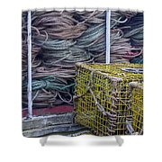 Lobster Traps And Ropes Shower Curtain by Stuart Litoff