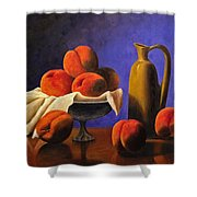 Local Peaches Oil Painting Shower Curtain