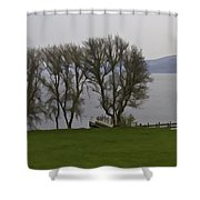 Loch Ness And Boat Jetty Next To Urquhart Castle Shower Curtain