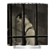 Locked Up Black And White Shower Curtain