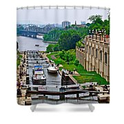 Locks On Rideau Canal East Of Parliament Building In Ottawa-on Shower Curtain