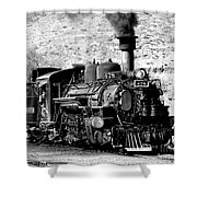 Locomotive Black And White Train Steam Engine Shower Curtain
