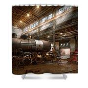 Locomotive - Locomotive Repair Shop Shower Curtain