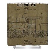 Locomotive Patent Postcard Shower Curtain