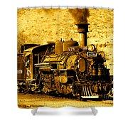 Sepia Locomotive Coal Burning Train Engine   Shower Curtain