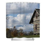 Log Cabin And November Sky Shower Curtain