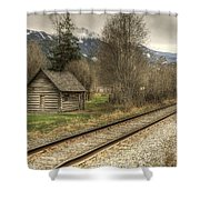 Log Cabin And Railroad Tracks Shower Curtain