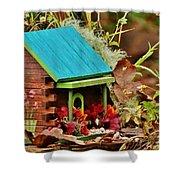 Log Cabin Birdhouse In Fall Shower Curtain
