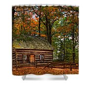 Log Cabin In Autumn Color Shower Curtain