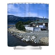 Log Cabin In Carcross Shower Curtain