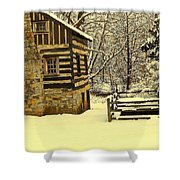 Log Cabin In The Snow Shower Curtain
