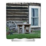 Log Cabin Shower Curtain