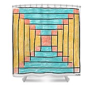 Log Cabin Variation - Retro Seafoam Shower Curtain