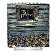 Log Cabin Window And Fall Leaves Shower Curtain